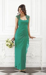 Formal Chiffon Square Long Sheath Turquoise Bridesmaid Dress with Split Front BDNZ1582