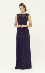 Adult Regency A Line Bateau Long Chiffon Bridesmadi Dress with Split Front BDNZ1584