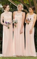 Glamorous Chiffon Jewel Long Sheath Pink Bridesmaid Dress with  Ribbon BDNZ1591