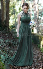 Vintage Chiffon Halter Long DarkGreen A Line Bridesmadi Dress with Draping BDNZ1592