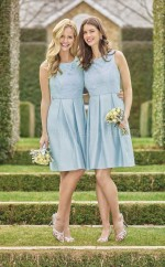 Teenage Knee Length SkyBlue Scoop Stretch Satin Bridesmadi Dress with Draping BDNZ1597