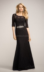 Black Lace Sheath Scalloped Long Bridesmaid Dresses (NZBD06160)
