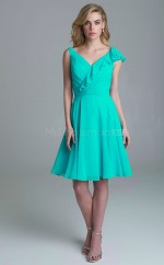Vintage Knee Length Chiffon V-neck Blue A Line Bridesmadi Dress with Cascading Ruffles BDNZ1603