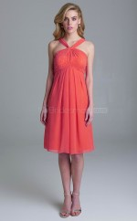 Formal Watermelon Knee Length Halter Chiffon A Line Bridesmadi Dress with Sequings BDNZ1604