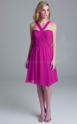 Trendy Halter A Line Knee Length DarkFuchsia Chiffon Bridesmadi Dress with Pleats BDNZ1605