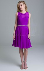 Informal Purple Scoop Knee Length A Line Chiffon Bridesmadi Dress with Crystal BDNZ1607