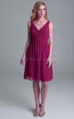 Teenage Chiffon DarkFuchsia A Line Knee Length Bridesmaid Dress with Draping BDNZ1608