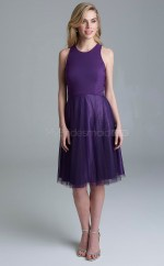 Modern Chiffon Jewel Knee Length A Line Regency Bridesmaid Dress with Draping BDNZ1609