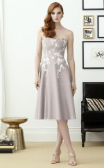 Classic Tea Length Organza Sweetheart LightGray A Line Bridesmadi Dress with Appliques BDNZ1612