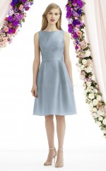 Vintage Bateau A Line Knee Length LightBlue Satin Bridesmadi Dress with Draping BDNZ1614