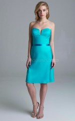 Trendy Turquoise Strapless Knee Length A Line Satin Chiffon Bridesmadi Dress with Ribbon BDNZ1616