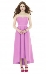 Elegant Hi-Lo Stretch Satin Sweetheart DarkLilac A Line Bridesmadi Dress with Draping BDNZ1621