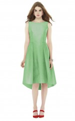 Glamorous Hi-Lo LightGreen Bateau Stretch Satin Bridesmaid Dress BDNZ1624