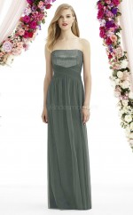 Vintage Chiffon Strapless Long A Line DarkGray Bridesmaid Dress BDNZ1636