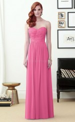 Adult Long Chiffon Sweetheart Pink A Line Bridesmaid Dress BDNZ1639