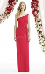 Informal Red Long One Shoulder Chiffon Sheath Bridesmaid Dress BDNZ1640