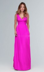 Modern Long Fuchsia V-neck Chiffon Bridesmaid Dress BDNZ1642