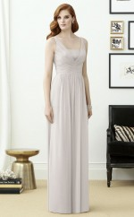 Vintage Gray A Line V-neck Long Chiffon Bridesmaid Dress BDNZ1647