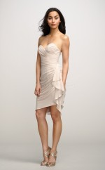 Ivory Silk Like Chiffon Sheath Sweetheart Neckline Short Bridesmaid Dress For Beach(NZBD06165)