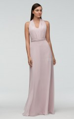 Chic Chiffon Halter Long Ivory A Line Bridesmaid Dress BDNZ1655
