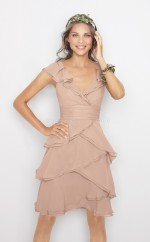 Nude Pink Chiffon A-line V-neck Short Bridesmaid Dress For Beach(NZBD06167)