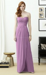 Chic Lilac Sweetheart Ankle Length Sheath Chiffon Bridesmaid Dress BDNZ1670