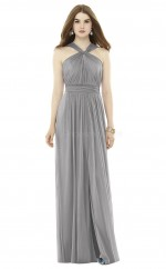 Chic Chiffon Silver A Line Long Bridesmaid Dress BDNZ1671