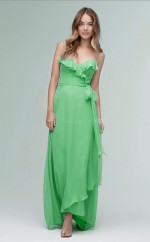 Chic DarkSage Hi-Lo Straps Chiffon A Line Bridesmaid Dress BDNZ1676