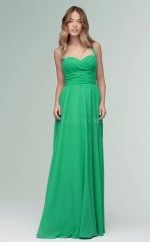 Chic Halter A Line Long Jade Chiffon Bridesmaid Dress BDNZ1677