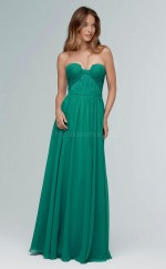 Chic InkGreen Strapless Long A Line Chiffon Bridesmaid Dress BDNZ1679