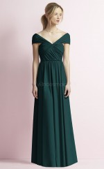 Chic Satin Chiffon InkBlue A Line Long Bridesmaid Dress BDNZ1680
