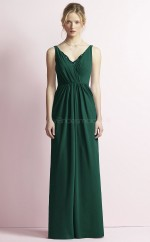 Chic Chiffon V-neck Long DarkGreen A Line Bridesmaid Dress BDNZ1682