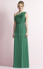 Chic DarkJade Long One Shoulder Satin Chiffon A Line Bridesmaid Dress BDNZ1685