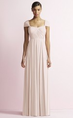 Chic Satin Chiffon Ivory A Line Long Bridesmaid Dress BDNZ1689