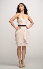 Ivory Silk Like Chiffon Sheath Sweetheart Neckline Short Bridesmaid Dress For Beach(NZBD06169)