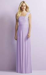 Chic Chiffon Straps Long A Line Lavender Bridesmaid Dress BDNZ1690