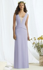 Chic Lavender Long V-neck Charmeuse Sheath Bridesmaid Dress BDNZ1694