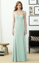 Chic Satin Chiffon Bateau Long Mermaid LightSage Bridesmaid Dress BDNZ1699