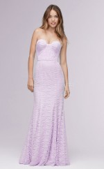 Chic LightLavender Long Strapless Lace Mermaid Bridesmaid Dress BDNZ1712