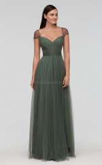 Chic Long Clover Sweetheart Tulle Bridesmaid Dress BDNZ1714