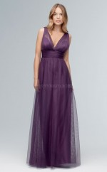 Chic Vioet V-neck Long A Line Tulle Bridesmaid Dress BDNZ1715