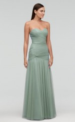Chic Tulle DarkSage Mermaid Long Bridesmaid Dress BDNZ1716