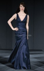Ink Blue Taffeta Sheath V-neck Long Bridesmaid Dresses (NZBD06174)