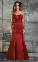 Red Satin Sheath Sweetheart Long Bridesmaid Dresses (NZBD06182)