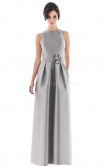 Silver Satin A-line Jewel Long Bridesmaid Dresses (NZBD06184)