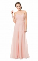 Pink Sheath Chiffon Straps Long Bridesmaid Dress NZBD1867