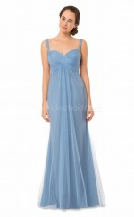 Straps Tulle Sheath Lavender Long Bridesmaid Dress NZBD1868