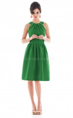 Green Satin A-line Jewel Neckline Knee length Bridesmaid Dresses (NZBD06187)