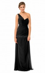 Chiffon Long One Shoulder Black Bridesmaid Dress NZBD1870
