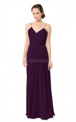 Grape Long Chiffon Straps Bridesmaid Dress NZBD1874
